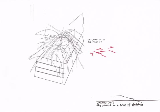 Drawing by Wolfgang Kschwendt: This, Martin, is the first of (a line of drawings)