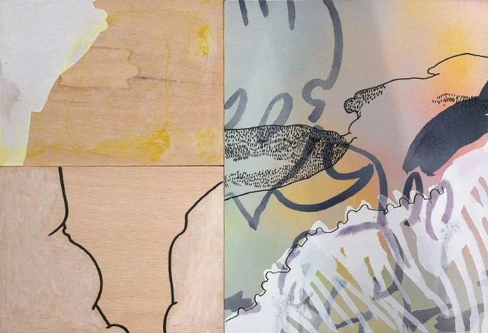 woods - mixed media on wood - Wolfgang Kschwendt