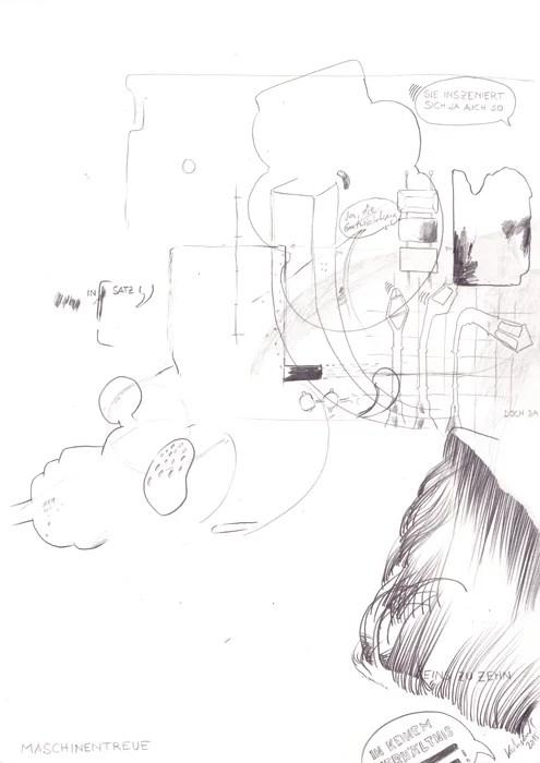 """Wolfgang Kschwendt - """"Maschinentreue"""" - Pencil on cardboard, DIN A4, 2015"""