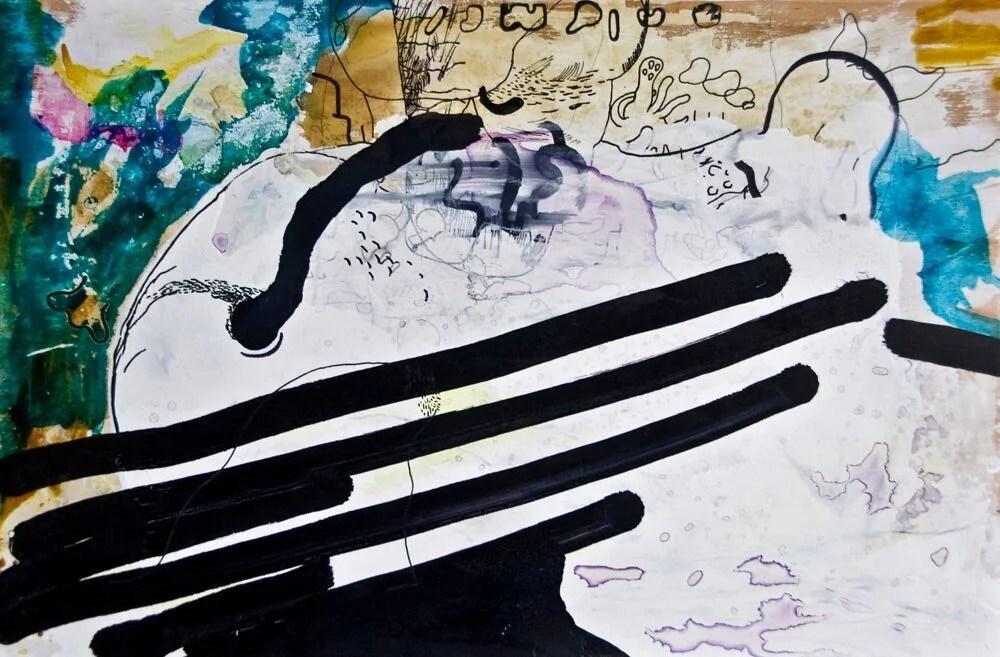 """""""Gefühlte Vibrationen"""", 60 x 40 cm, Mixed Media, Holz, 2016"""