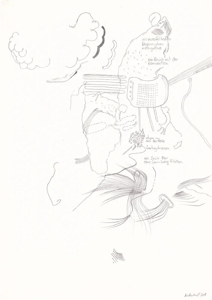 drawing: wolfgang kschwendt - ein zweifelhafter beginn - DIN A4
