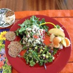 Raw Tabbouleh, Broccoli Kale Salad with Flax crackers and Fruit Salad
