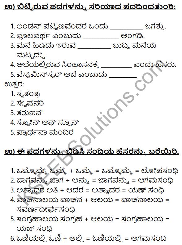 Siri Kannada Text Book Class 10 Solutions Gadya Chapter 3 London Nagara 11