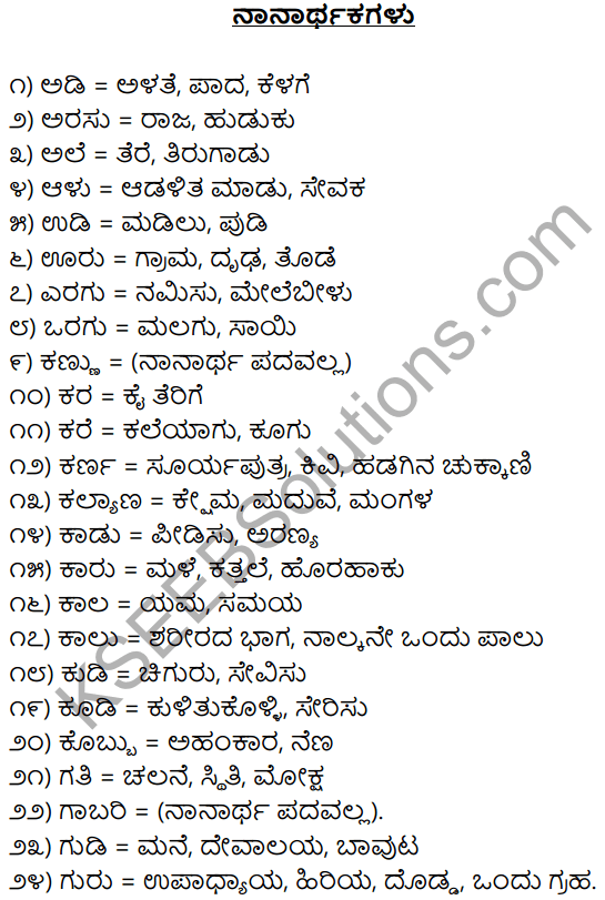1st PUC Kannada Workbook Answers Nanartha Padagalu 1