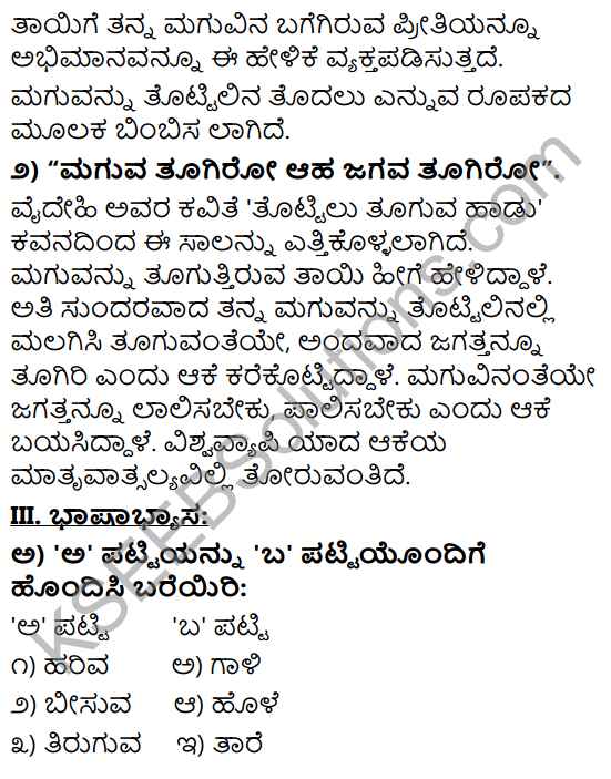 Tili Kannada Text Book Class 9 Solutions Padya Chapter 4 Tottilu Tuguva Hadu 6