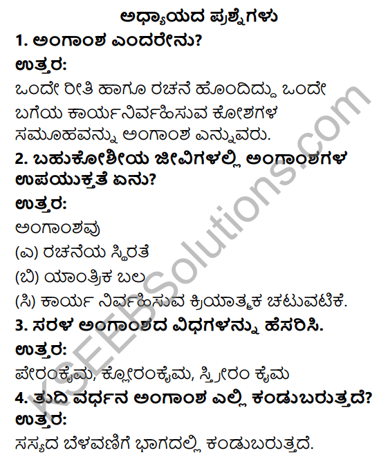 KSEEB Solutions for Class 9 Science Chapter 6 Amgansagalu 1
