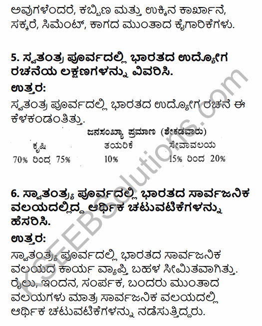 1st PUC Economics Question Bank Chapter 1 Indian Economy on the Eve of Independence in Kannada 8