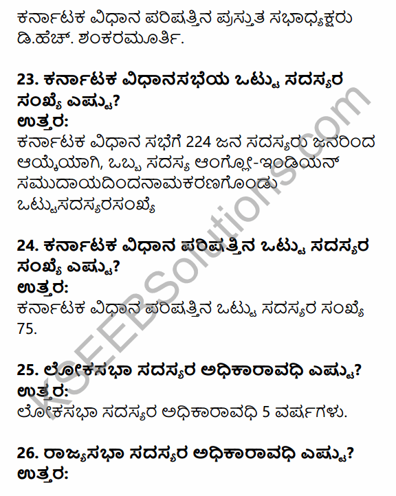 1st PUC Political Science Question Bank Chapter 6 Legislature in Kannada 6