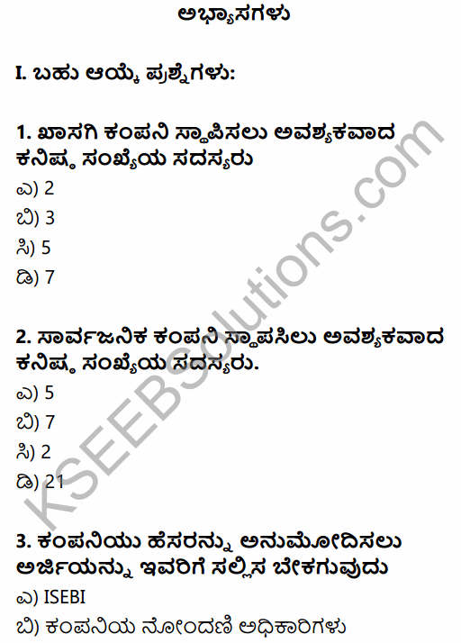 1st PUC Business Studies Question Bank Chapter 7 Nature of a Company in Kannada 1