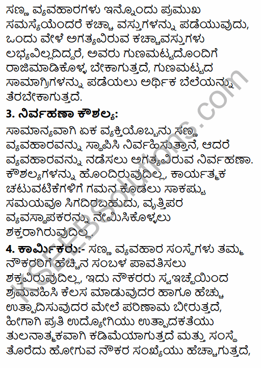 1st PUC Business Studies Question Bank Chapter 9 Small Business in Kannada 24