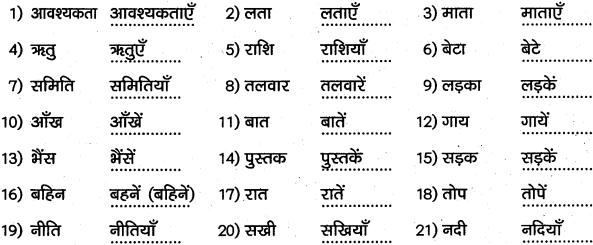 1st PUC Hindi Workbook Answers व्याकरण वचन 2