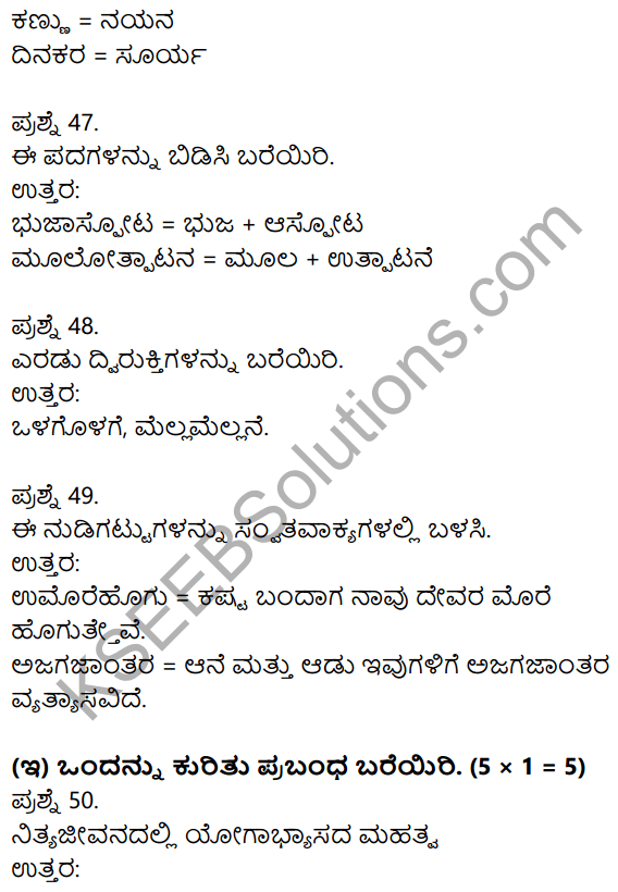1st PUC Kannada Previous Year Question Paper March 2019 (North) 25