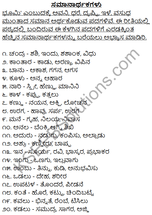 2nd PUC Kannada Workbook Answers Chapter 2 Samanarthaka Galu 1