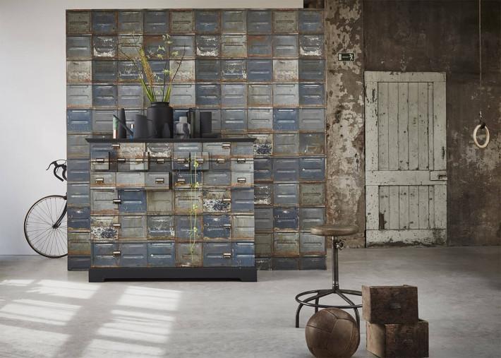 papier peint motifs container design industriel vintage gris rouille par studio ditte