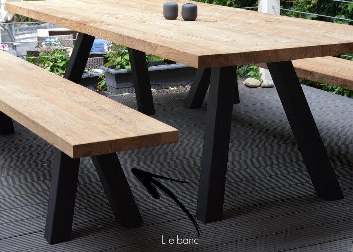 banc de table design en chene naturel et acier noir ou blanc l 240 ou 300 cm bradford par jankurtz