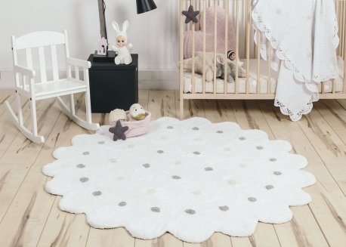 tapis rond o140 en coton blanc bleu ou rose little biscuit lorena canals