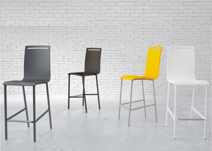chaise haute avec dossier pieds acier et assise en bois noir blanc gris jaune ou naturel nera par cancio