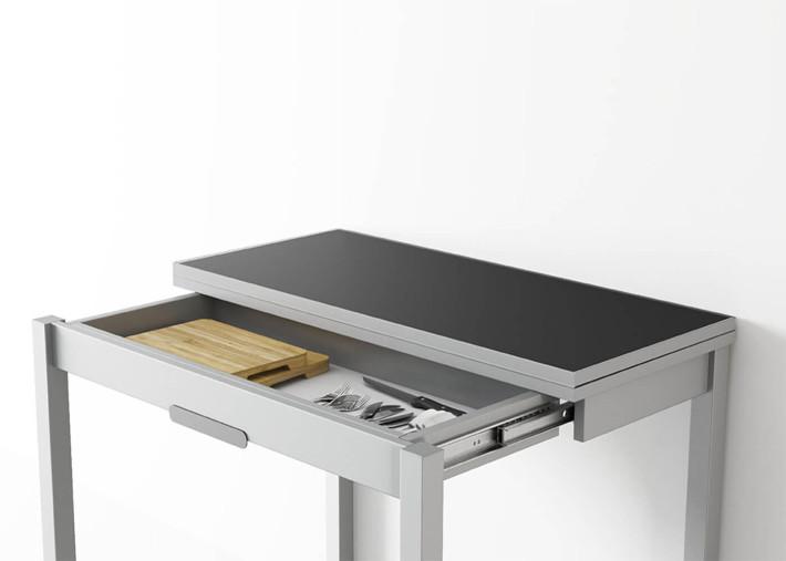 table de cuisine extensible avec tiroir de rangement en verre colore ou melamine blanc domino par cancio
