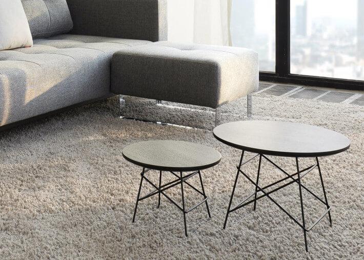 tables basses gigognes 3 tailles bois de chene naturel ou noir et pietement en metal noir grids par innovation living