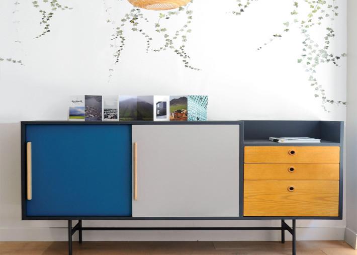 buffet design vintage gris bleu canard et frene miel 161x42x90 j18 par laurette
