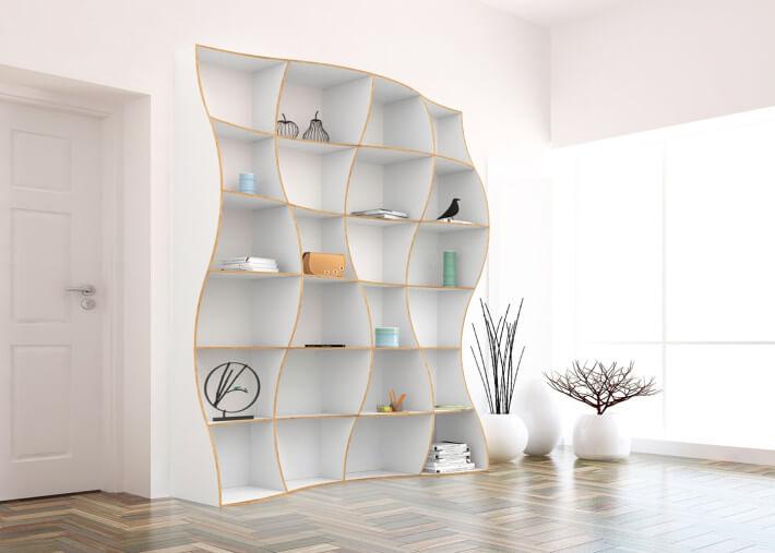 bibliotheque au design original en bois de bouleau teinte blanc 3 tailles dune par jaanus orgusaar