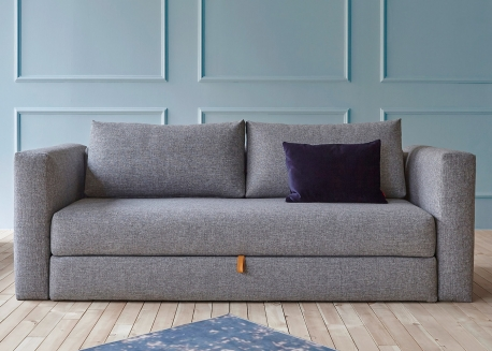 canape confortable bleu ou gris convertible en lit 150x200 avec espace de rangement inclus otris par innovation living