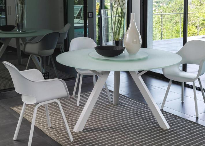 table ronde o 150 cm en aluminium et verre blanc ou taupe circle
