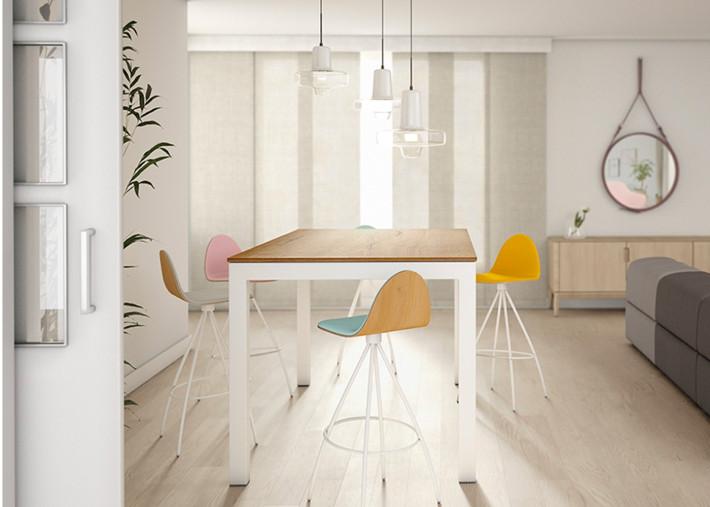 table haute table snack fixe ou extensible avec plateau en stratifie 6 coloris et 7 tailles tokio snack par cancio