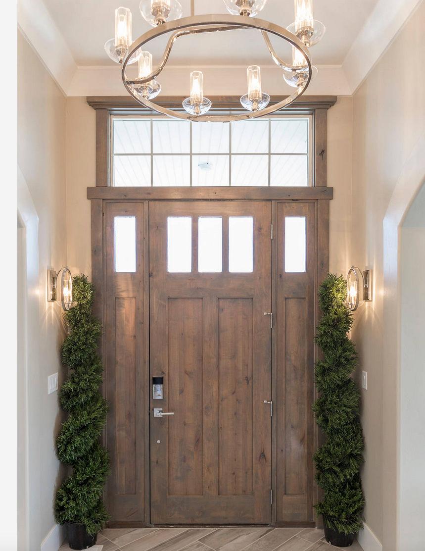KSR ALPINE KNOTTY ALDER 3 LITE ENTRY DOOR WITH SIDELITES 36 X96 EX 1222 KSR Door And Mill Comany