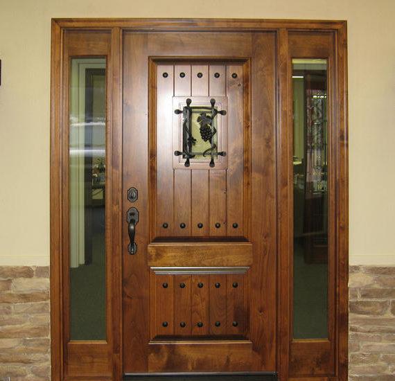 KNOTTY ALDER ENTRY DOOR WITH SIDE LITE TUSCANY DESIGN EX