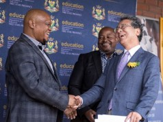 From left to right: MEC Dr PHI Makgoe FSDoE, Mr. Themba Mola KST CEO, Ambassador H.E Mr. Shigeyuki Hiroki Embassy of Japan in South Africa