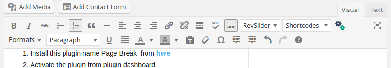 pagebreak in wordpress visual editor