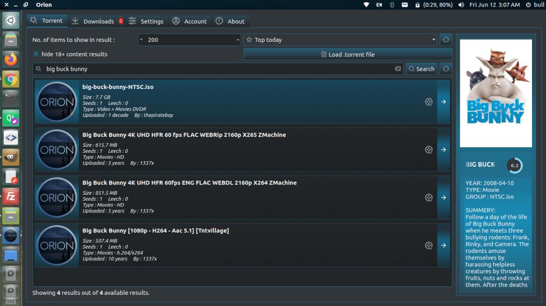 Orion Desktop - BitTorrent client and torrent streamer