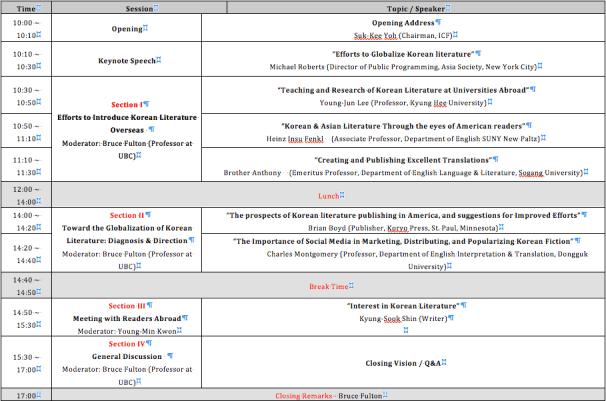 ICF 2012 Schedule