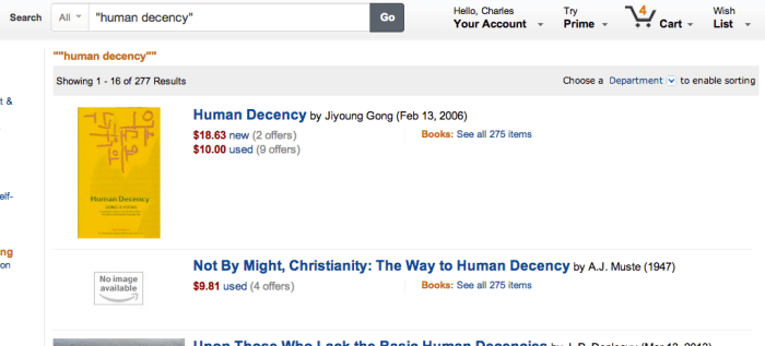 Human Decency Amazon Search