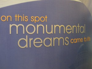 """On this spot, the monument to dreams came to life."" It reads."