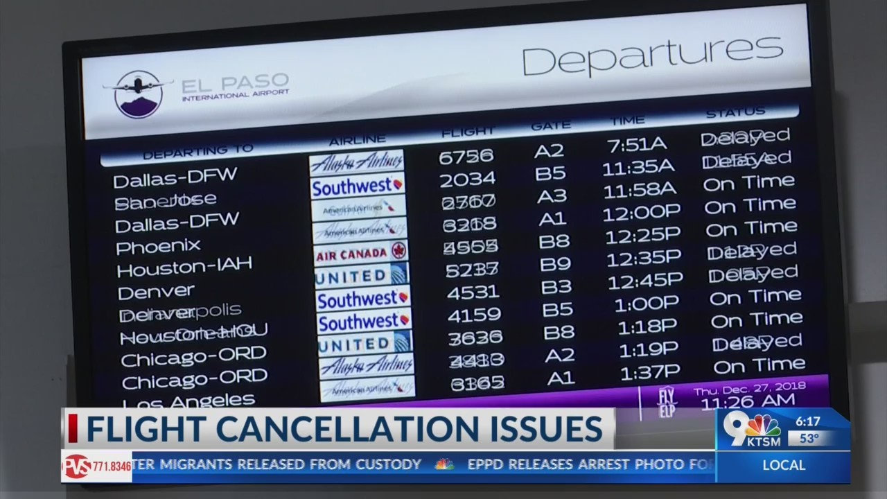 El Paso flights canceled due to weather issues