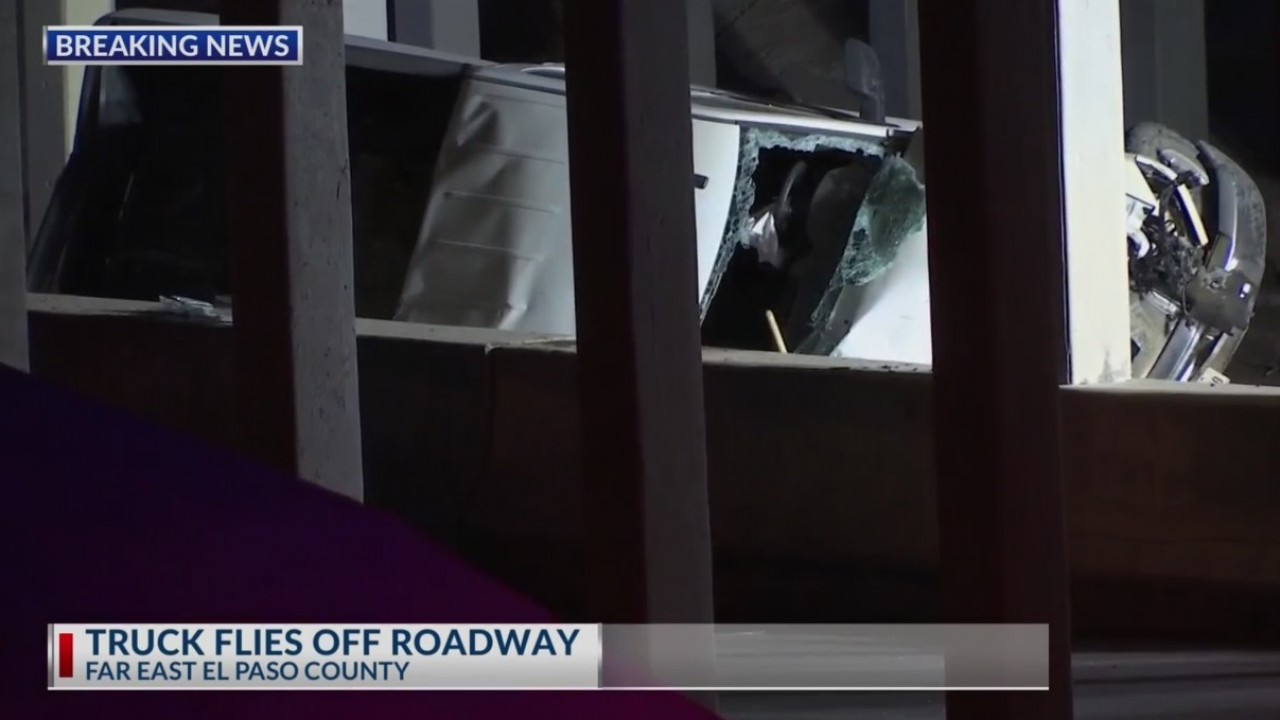 One person dead after truck flies off roadway in Far East El Paso County