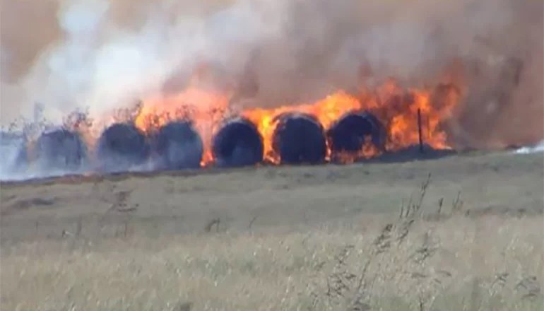Fire burns 80 acres, 200 large bales of hay in Adair County