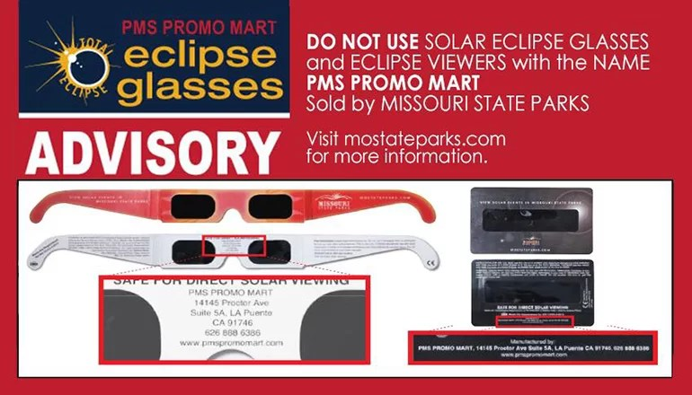Missouri State Parks issues recall on solar eclipse glasses