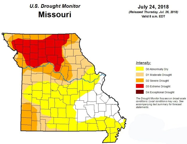 Drought map of Missouri released 7-26-18