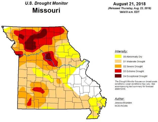 Missouri Drought Map August 21, 2018