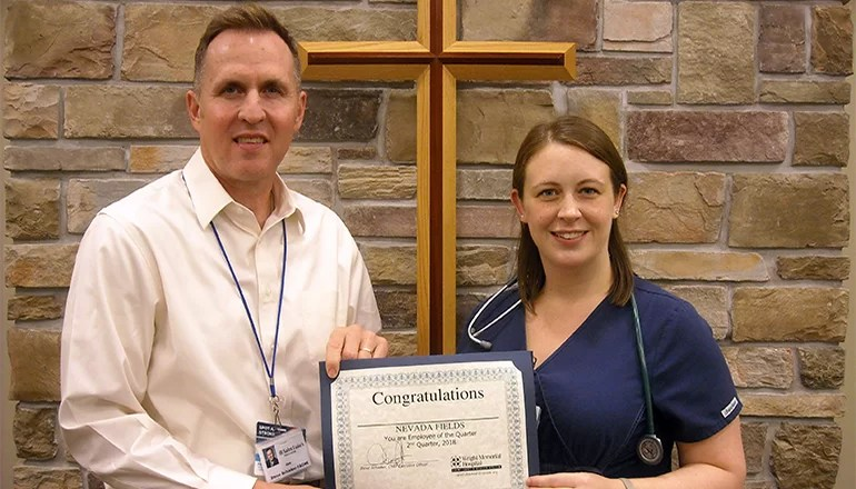 Nevada Fields is Wright Memorial Hospital Employee of the Quarter
