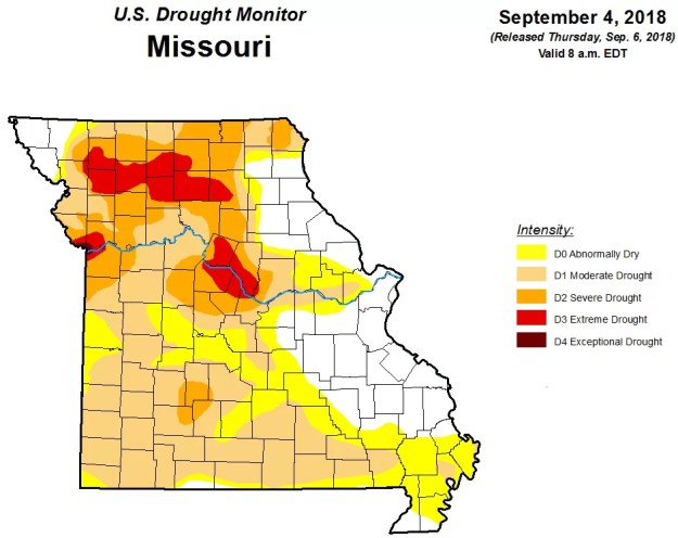 Missouri Drought Map September 4th 2018