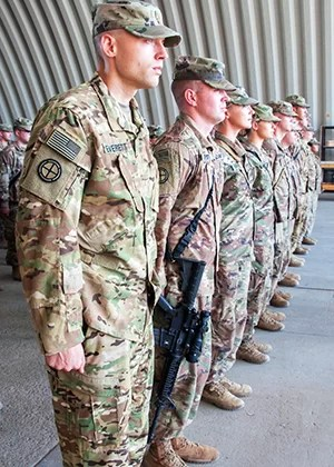 Soldiers From Sedalia In Formation At Patching Ceremony
