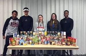 NCMC student organizations FCA and RHA collected and donated items for the Community Food Pantry of Grundy County during the women and men's basketball games.
