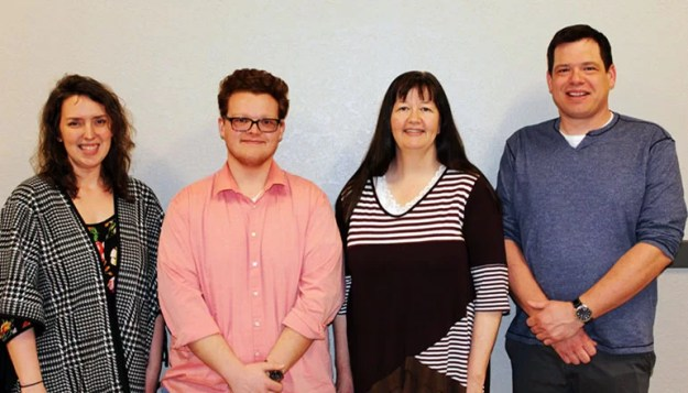 L to R: Amy Guthrie-English Instructor, Jonathan Burnfin, Dr. Susan Stull-Science Instructor, and Dr. Sterling Recker-Political Science Instructor