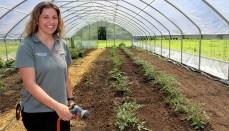 Woman watering a garden