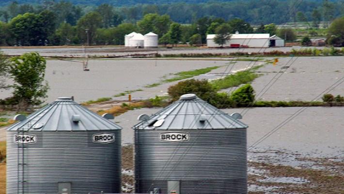Flooded Farm Grain Bins