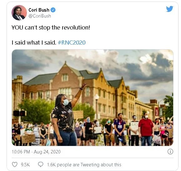 Cori Bush Screenshot of Twitter post